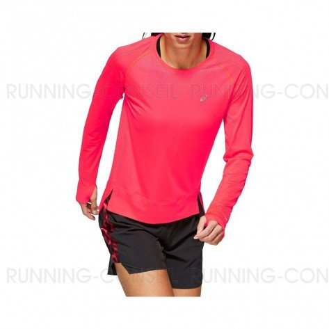 ASICS Tee-Shirt manches longues sans coutures femme   Lazer pink