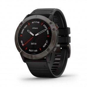 GARMIN fēnix 6X Sapphire, carbon Gray DLC avec bracelet noir