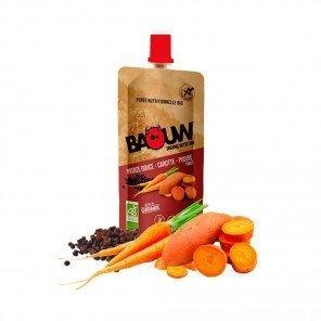 BAOUW Purée et compotes énergétiques bio | Patate douce - Carotte - Poivre | Pack de 20
