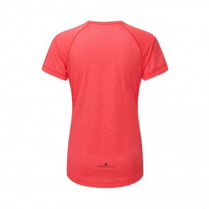 RONHILL Tee-shirt manches courtes MOMENTUM Femme   Hot Pink Marl/Charcoal